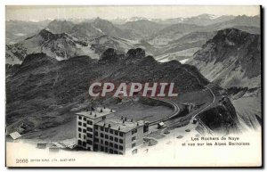 Old Postcard The Rocks Baye and views of the Bernese Alps