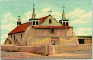 1940s ISLETA PUEBLO, New Mexico Postcard Old Church of St. Augustine Linen