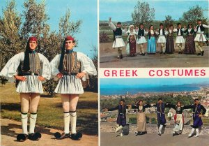 multi view traditional greek costumes national native dance postcard