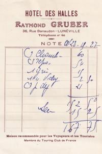 Hotel Des Halles Raymond Gruber Luneville 1939 WW2 Receipt Postcard