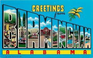 Birmingham Alabama~Large Letter CHROME Greetings~Cotton Plant 1950s Postcard