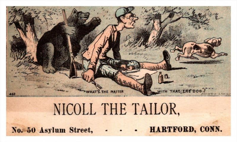 13228   Trade Cardbear holding Hunter's Gun   CT  Hartford  Nicoll the T...