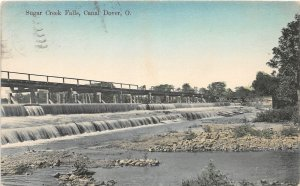 G89/ Canal Dover Ohio Postcard 1910 Sugar Creek Falls Bridge Tuscarawas