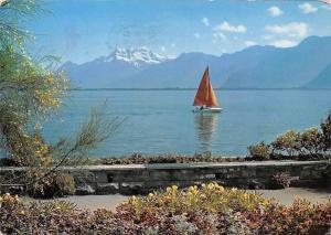Switzerland Lac Leman et les Dents du Midi Bateau Lake Mountains
