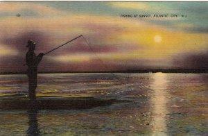 P1751 1939 used pc fishing at sunset atlantic city new jersey