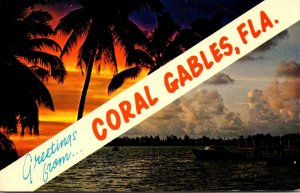 Florida Coral Gables Greetings With Sunset and Waterfront