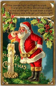 Vintage CHRISTMAS Postcard SANTA CLAUS Lighting Pipe with Giant Candle c1910s