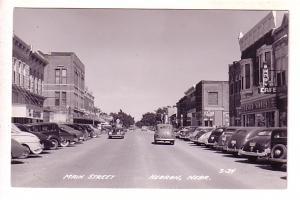 Main Street, Mandy Cafe, Rexall Drugs, Cars, Hebron, Nebraska, Real Photo L L...