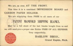 Grand Rapids MI Barlow Bros Patent Manifold Shipping Blanks Postal Card 1896