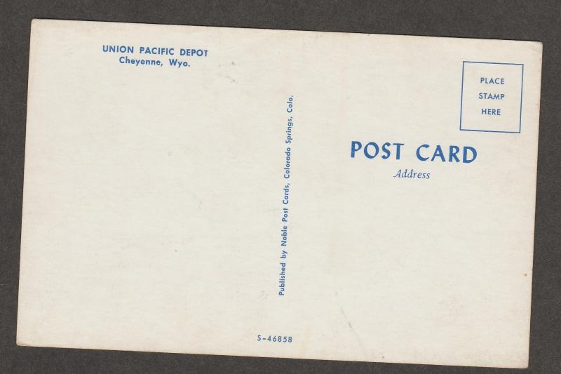 Postcard Union Pacific Railroad Depot Cheyenne, Wyoming
