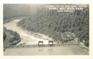 Hawks Nest State Park West Virginia~New River Canyon Dam~1950s Real Photo~RPPC