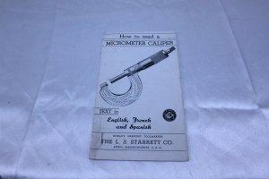 Vintage 1930's L.S. Starrett Co 3 Language How to Read a Micrometer Caliper