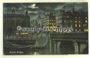 tp0101 - Bristol - Night View of Bristol Bridge & the Church opposite - postcard