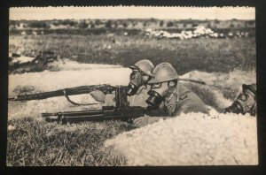 Mint France Real Picture Postcard RPPC Army Soldiers Gas Alert