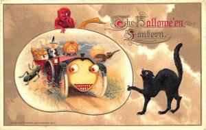John Winsch 1914 The Halloween Lantern Devil Witch Car Black Cat Postcard