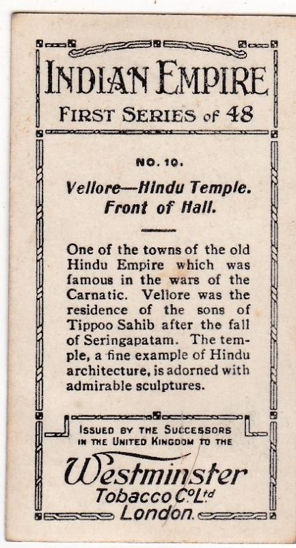 Cigarette Card Westminster : Indian Empire (First Series) No. 10 Vellore