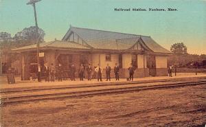 Foxboro MA Railroad Station Train Depot Train H. F. Gray Postcard