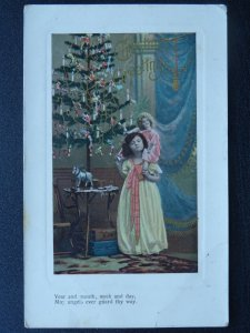 Christmas Greetings LITTLE GIRL PLAYING WITH DOLLY c1910 Postcard