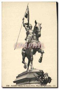 Old Postcard Paris Statue of Joan of Arc Square Pyramids