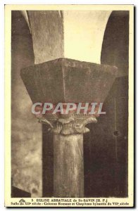Old Postcard Abbey Church of St Savior Hall Column XII century Romanesque and...