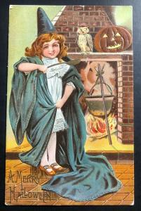 1909 PERU NE Usa Picture Postcard PPC Cover Halloween Little Witch And Owl