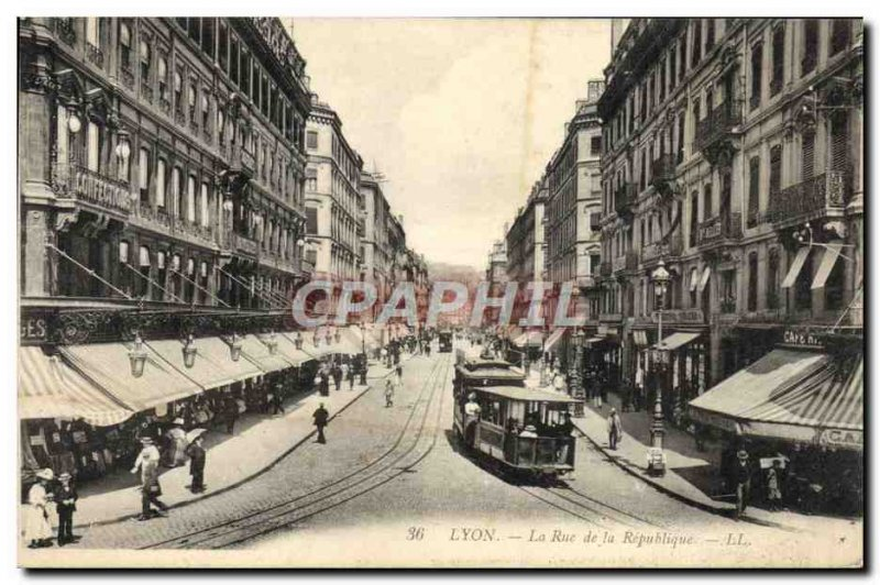 Postcard Old Tram Train Lyon Rue de la Republique