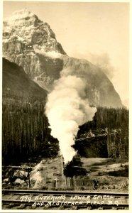 Canada - BC, Kicking Horse Canyon, Train & Mt Stephen.  *RPPC