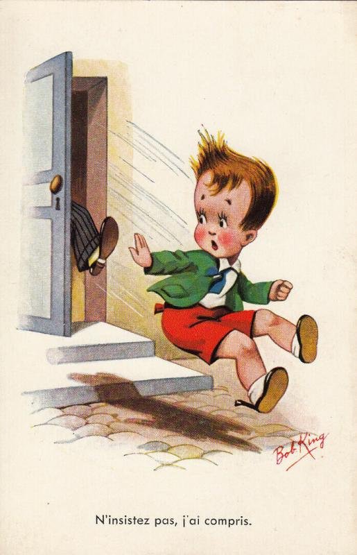 Humour signed Bob King boy foot shot comic postcard