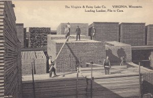 VIRGINIA , MN, 1920-30s; Loading Lumber, Pile to Cars, Virginia & Rainy Lake Co.