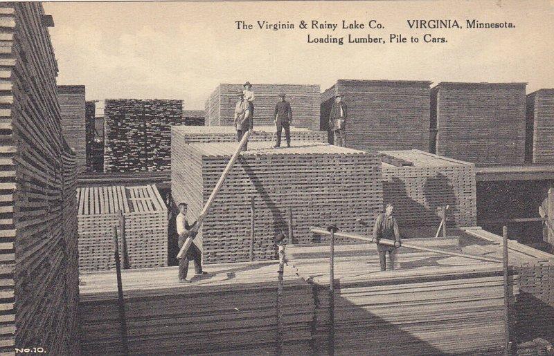VIRGINIA , MN, 1920-30s; Loading Lumber, Pile to Cars, Virginia & Rainy Lake Co.