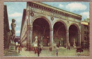 P1329 nice vintage art signed postcard unused lodge of orcagna italy