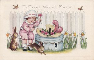 EASTER, PU-1922; Little girl holding rose, rabbits & hat on box, Dafodils