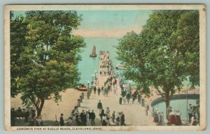 Cleveland Ohio~Concrete Pier at Euclid Beach~Sailboats on Water~c1920 Postcard