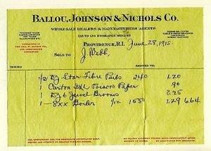 1915 Ballou, Johnson & Nichols Co Billhead, Providence, Rhode Island/RI