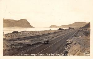 Wallula Cut Off Washington~North Through the Gap~1930s Car on Highway~RPPC