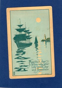 Lighthouse & Sailing Ship, Boat On Ocean, In Moonlight, Antique Postcard