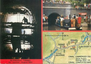 Postcard British England Northamptonshire Blisworth tunnel multi view boat map
