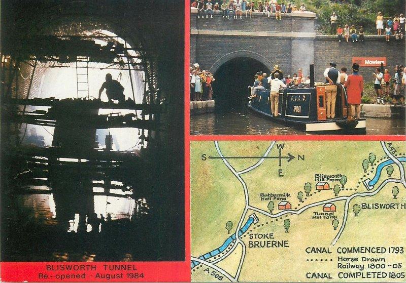 Postcard British England Northamptonshire Blisworth tunnel multi view boat map