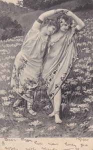 TUCK Continental Series 1195; PU-1904; Two girls dancing in field of flowers
