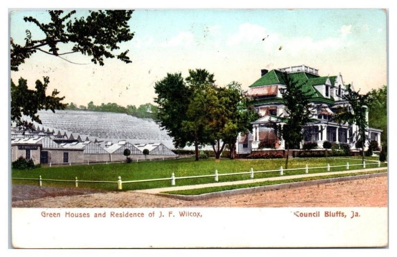 1917 J.F. Wilcox Home and Greenhouses, Council Bluffs, IA Postcard