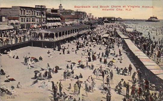 New Jersey Atlantic City Boardwalk And Beach Chairs At Virginia Avenue 1912