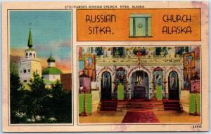 Sitka, Alaska Postcard RUSSIAN CHURCH Spires & Interior C.P. Johnston Linen