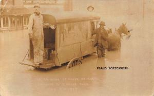 BLACK AMERICANA HORSE DRAWN MILK WAGON IN FLOOD-1917-NASHVILLE? RPPC