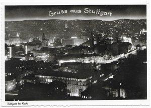 Germany. Stuttgart at night.  Mint card.