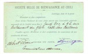 Societe Belge Bienfaisance de Chile, Postal Card , PU-1893 , Santiago , Chile