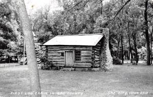 Sac City Iowa~Fist Log Cabin in the County~RPPC 1940s Cars~Postcard