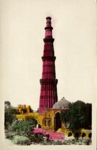 india, NEW DELHI, Qutab Qutb Kutab Minar, Victory Tower (1940s) Tinted RPPC