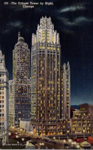 Illinois Chicago The Tribune Tower Bu Night 1950 Curteich
