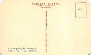 Pase de pecho de Valazquez, Chest Pass Tarjeta Postal Bullfighting Unused