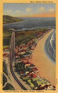 MALIBU MOVIE COLONY Roosevelt Highway near Santa Monica c1940s Vintage Postcard